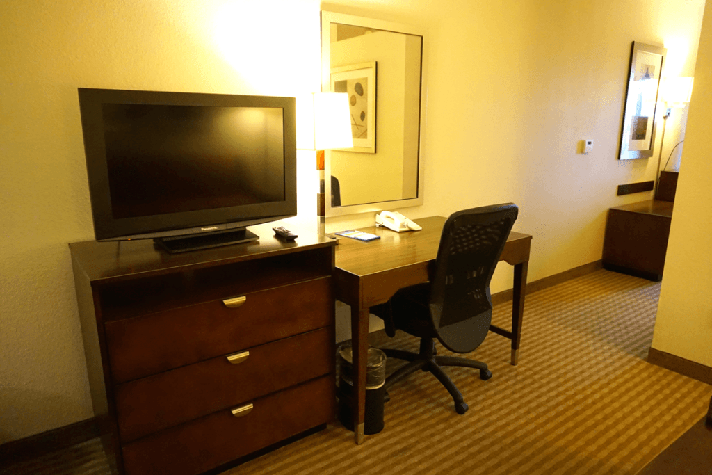 Another tv and work space in our room at the Hampton Inn Boynton Beach