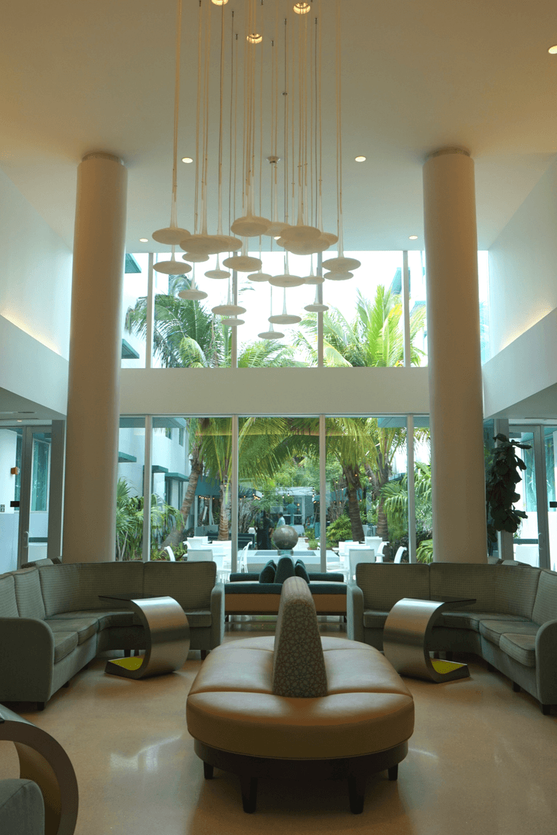 An open and spacious lobby at the residence inn Surfside