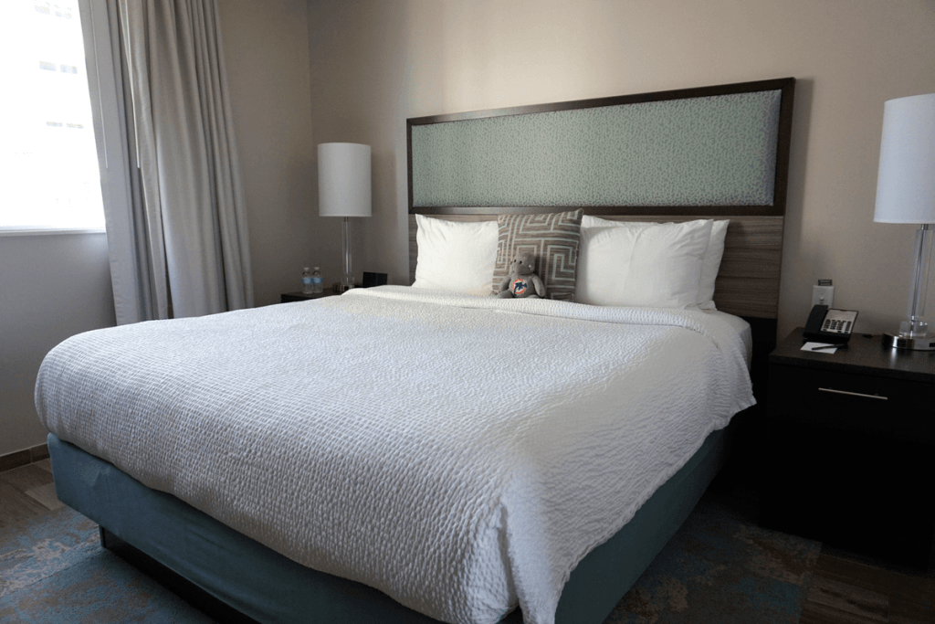 Our Studio Suite at the Residence Inn Surfside had a comfy king-size bed