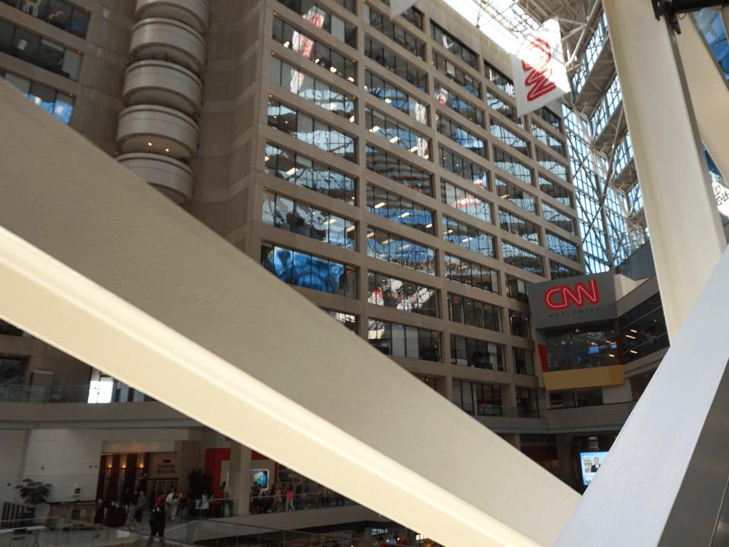 Going up the world's longest freestanding escalator at CNN Headquarters