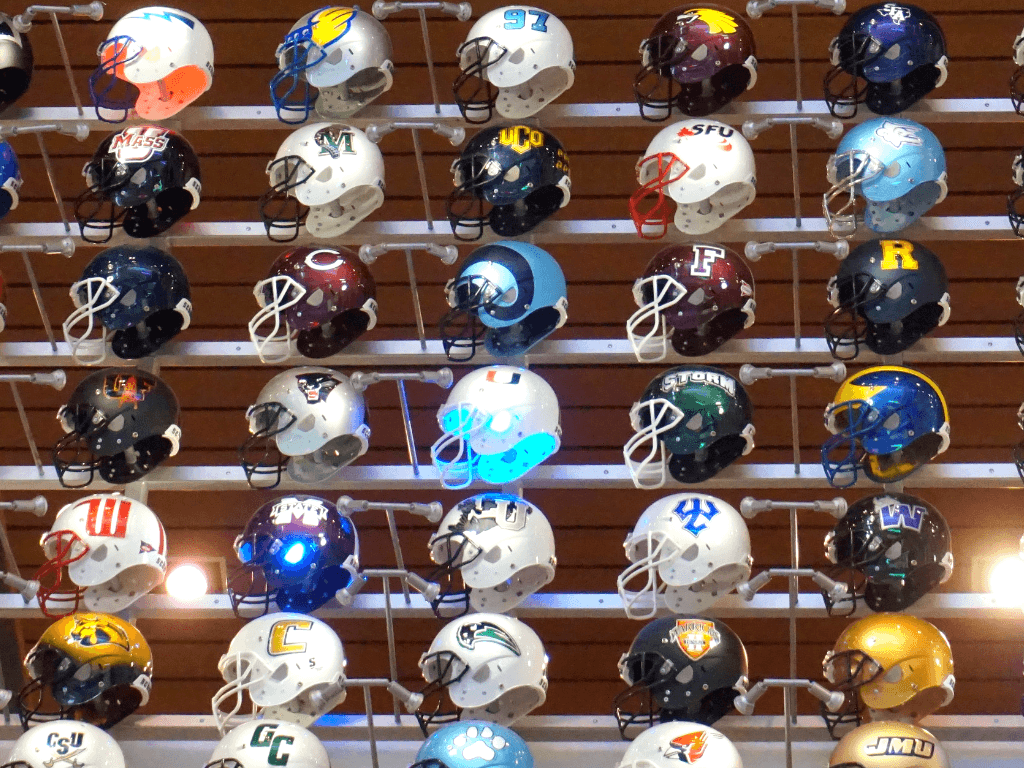 The Helmet Wall features helmets from all 765+ college football teams