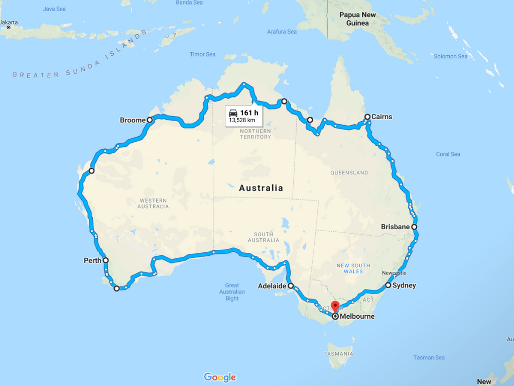 Our possible Australian road trip itinerary route