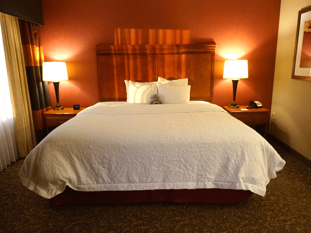 Our deliciously comfortable bed at the Hampton Inn Pittsburgh Downtown
