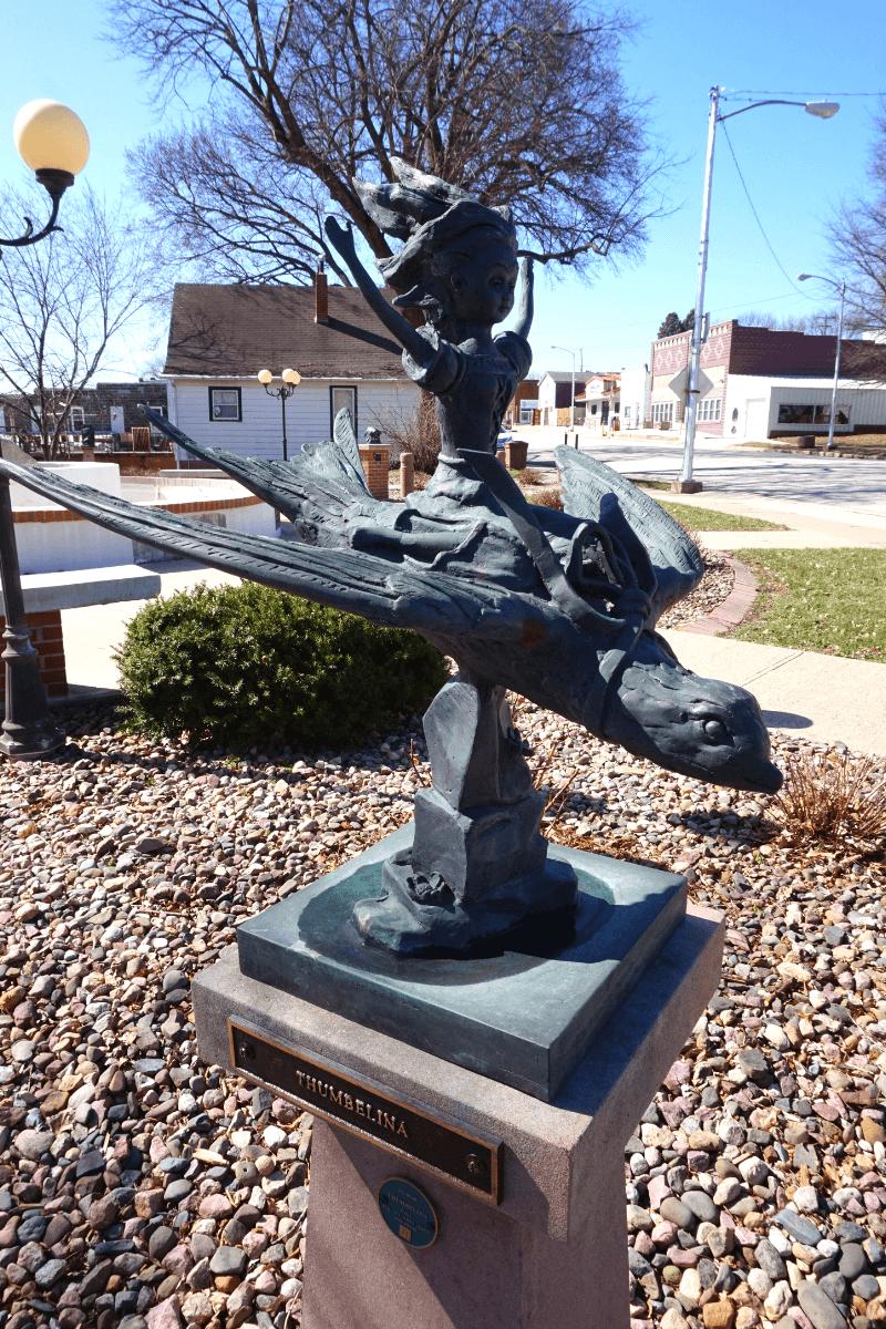 Thumbelina statue in Kimballton, Iowa