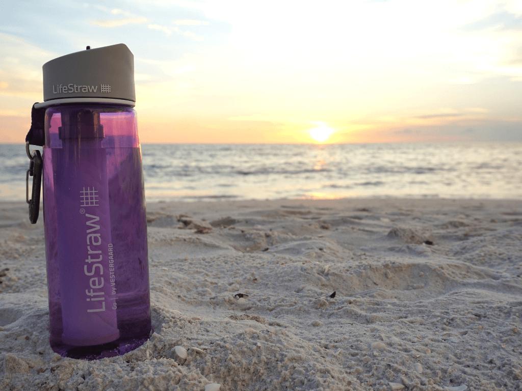 Enjoying Florida's beaches with LifeStraw