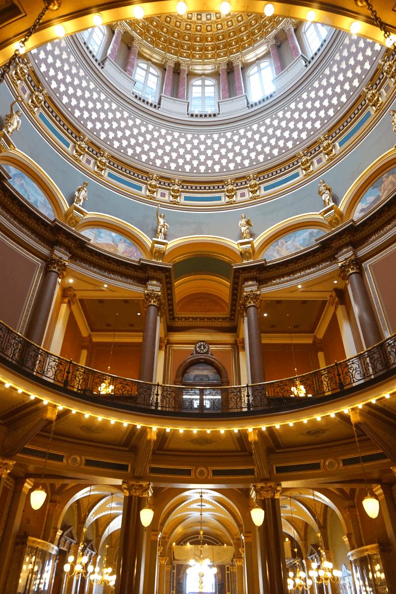 Underneath the rotunda of the Iowa State Capitol