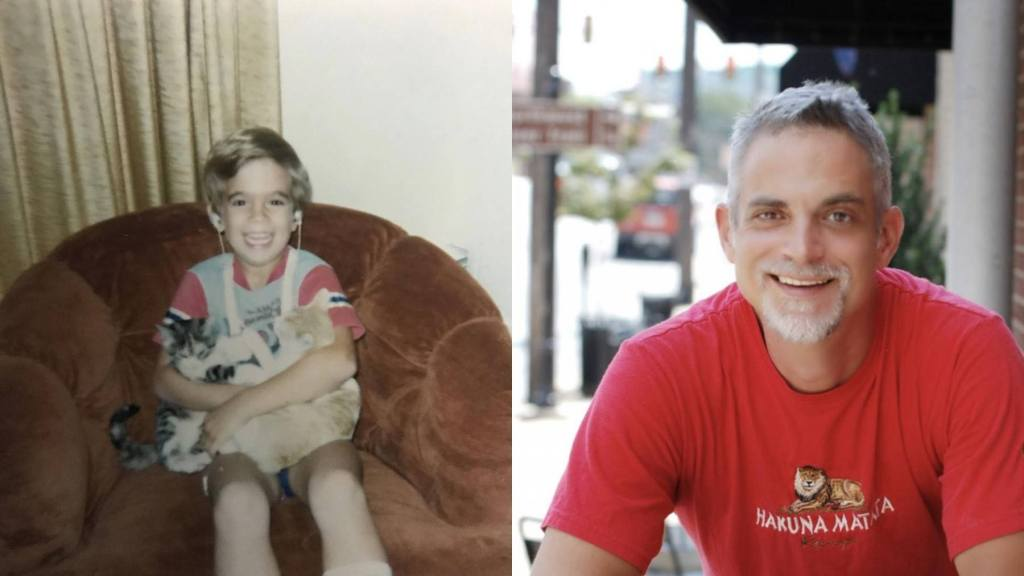 Side by side profile of Mark Deaf McGuire as a young boy on the left holding two cats and as a grown man posing for the camera on the right.