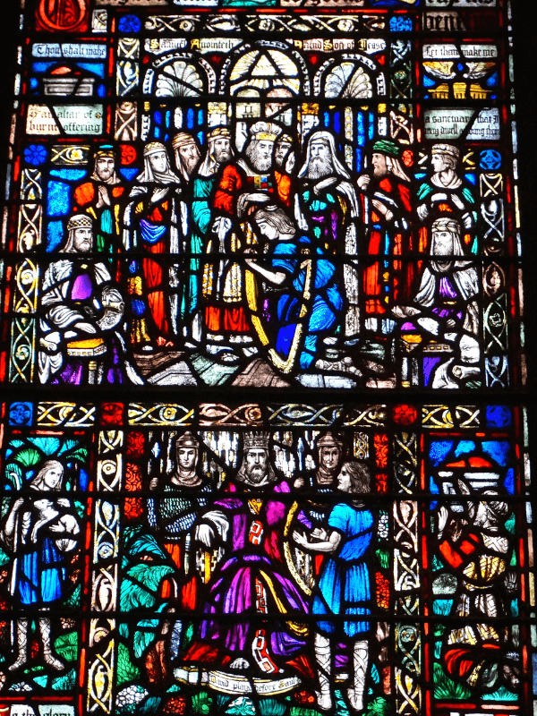 Stained glass window inside Trinity Church in Boston