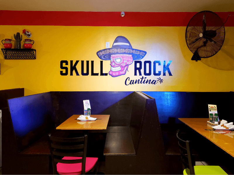 Inside Skull Rock Cantina, one of the best Providenciales restaurants