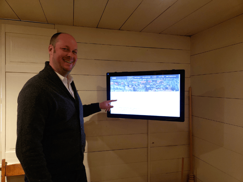 John showing us the touch-screen display at the William Root House Museum