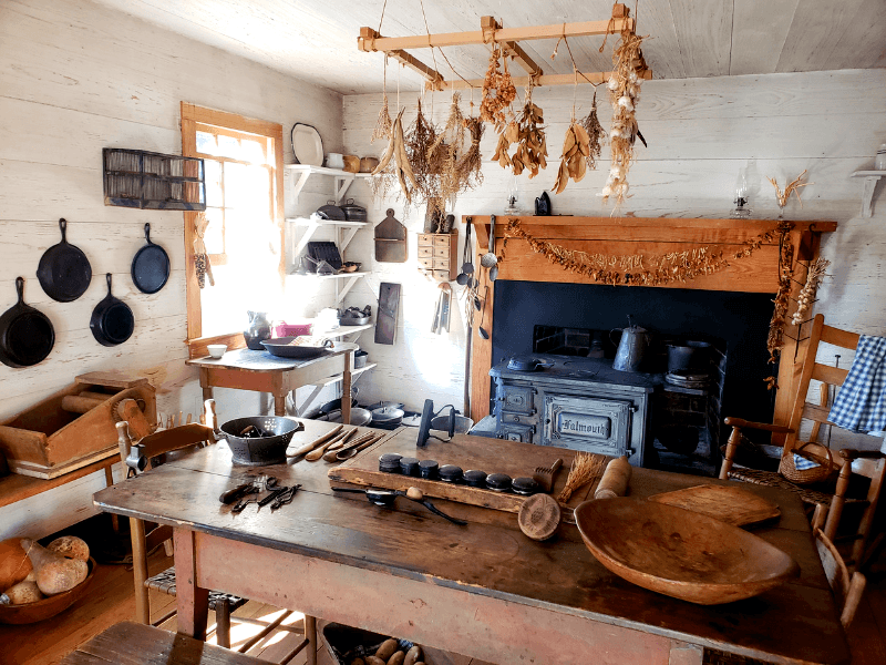 We loved the working 1850s cookstove in the outside kitchen!