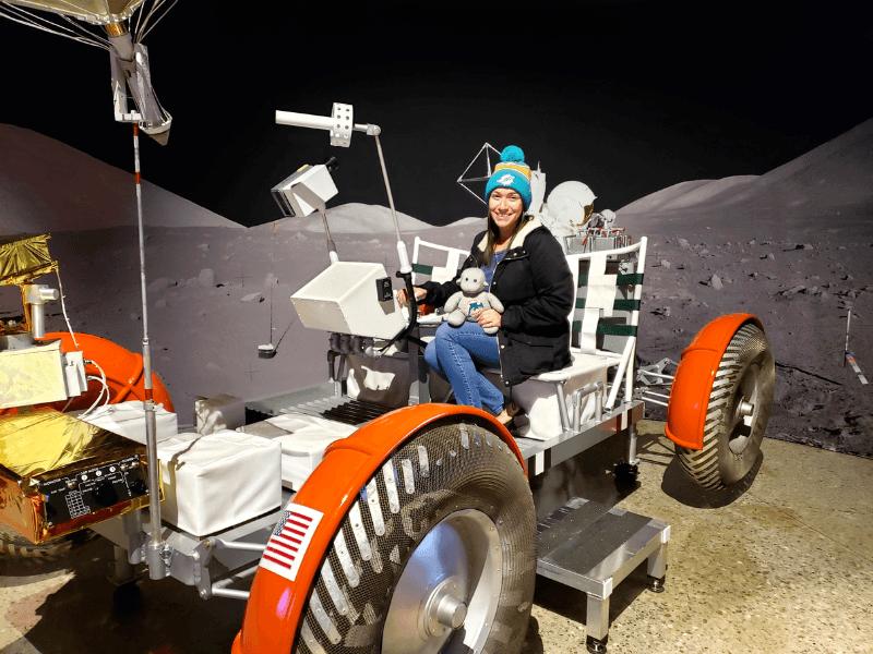 Sitting on a lunar rover in Huntsville Alabama