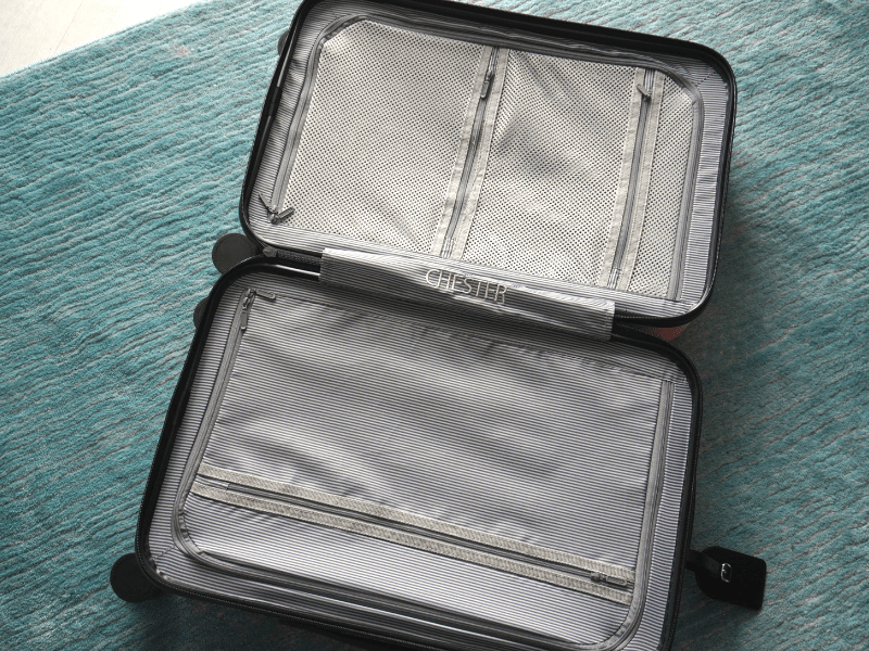 Three zippered compartments inside the Chester Carry-On