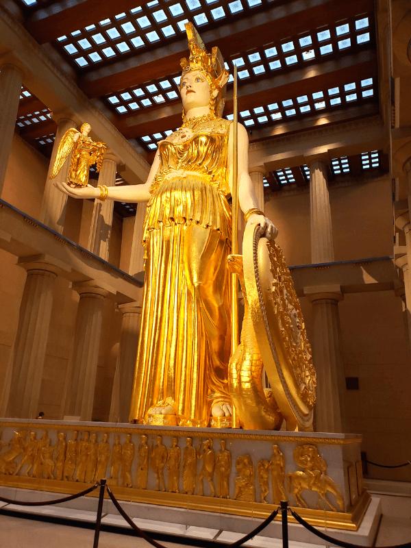 Greek goddess Athena inside the Nashville Parthenon