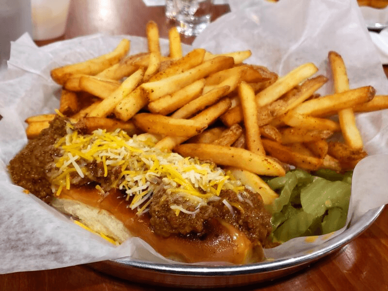 Chili-Cheese Dog and Fries at Pints & Pixels, one of the most fun places to eat in Huntsville, Alabama