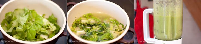 Добавляем салат латук, варим и разбиваем суп в блендере до превращения в крем