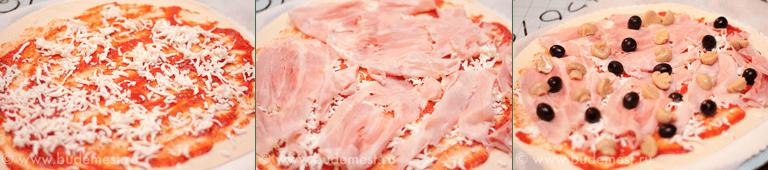 Начинка для пиццы с ветчиной и грибами