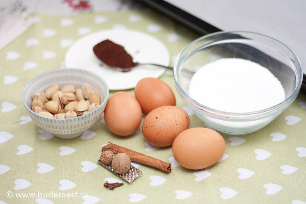 Ингредиенты для приготовления меренг с какао и фисташками