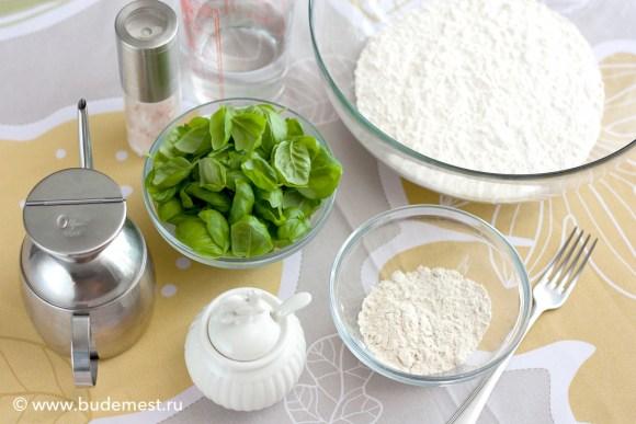 Ингредиенты для приготовления базиликовых хлебцев