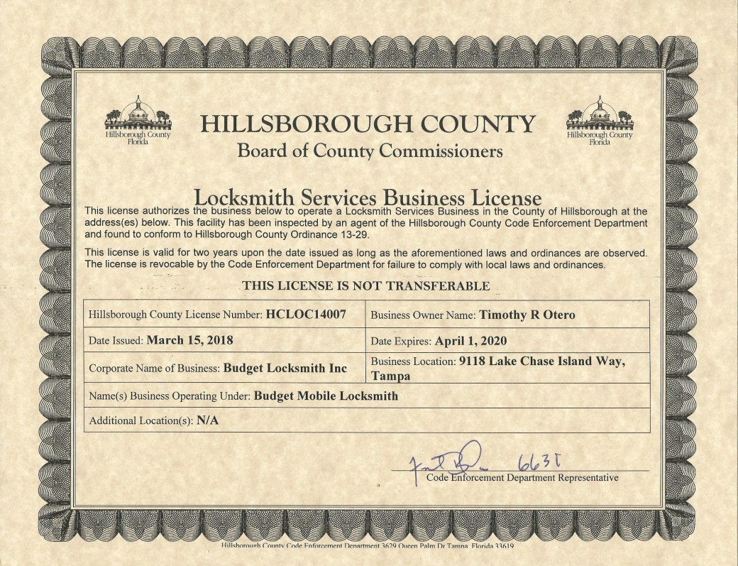 Licensed, Bonded and Insured Locksmith in Tampa Bay (813)-962-1121