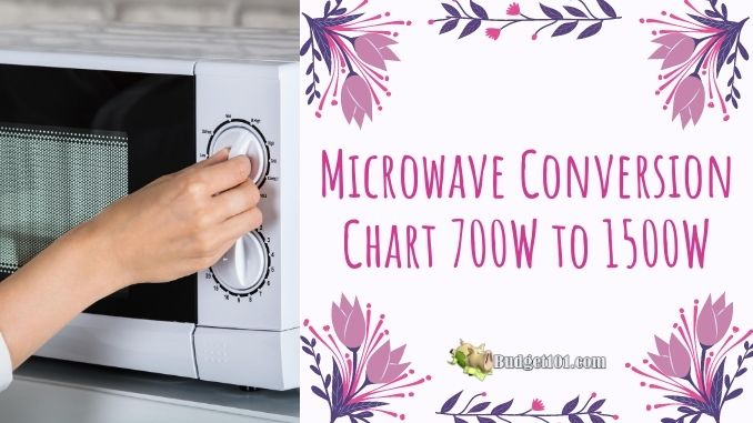 microwave conversion chart 700 watts to