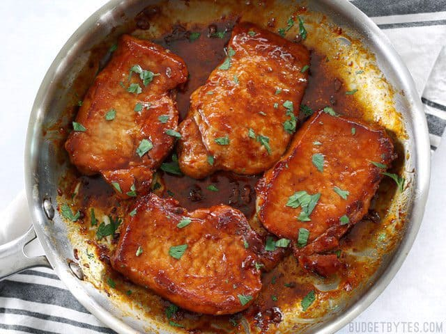 Glazed Pork Chops are the easiest, juiciest, and most flavorful chops you'll ever make! BudgetBytes.com