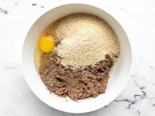 Black bean mixture with egg and breadcrumbs