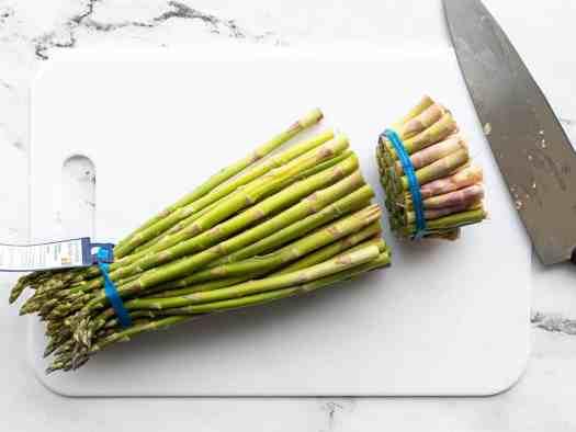 Ends trimmed off asparagus
