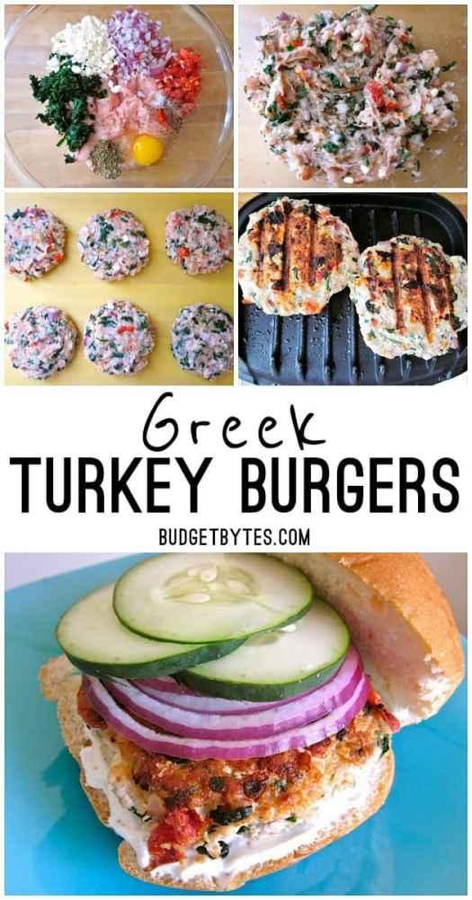Greek Turkey Burgers are a healthy mix of ground turkey and Mediterranean flavors. BudgetBytes.com