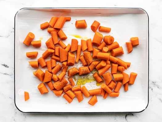 Prepped carrots on a baking sheet
