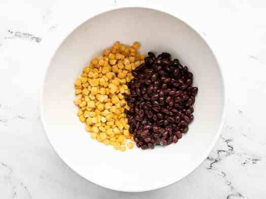 Corn and black beans in a bowl