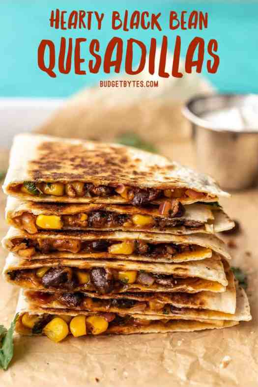 A stack of black bean quesadillas with title text at the top