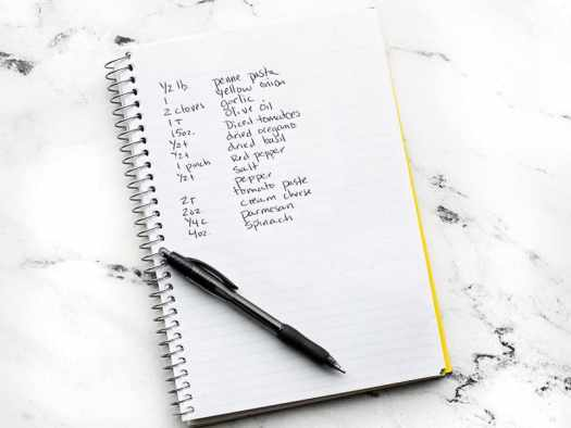 Notebook with ingredients listed