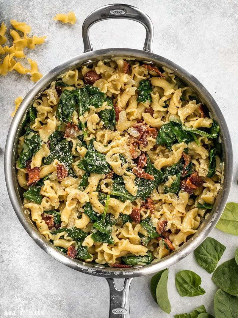Bacon and Spinach Pasta with Parmesan   Budget Bytes Bacon and Spinach Pasta with Parmesan