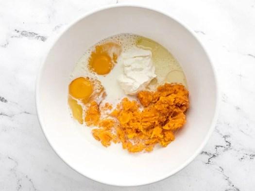 cornbread wet ingredients in a bowl