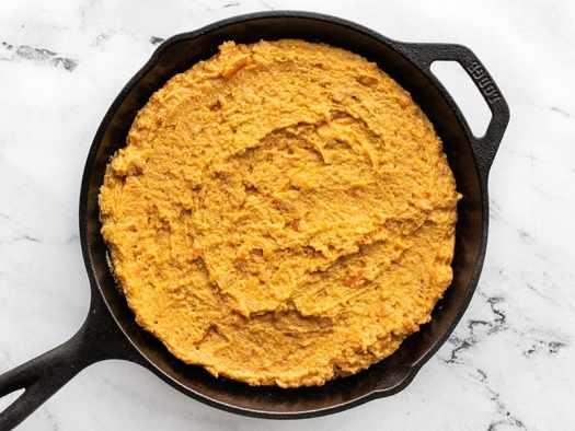 cornbread batter in the hot skillet