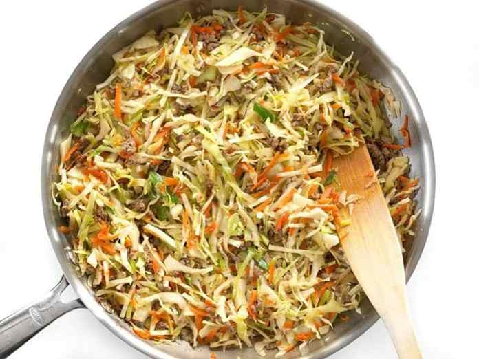 Wilted Cabbage and Carrots for the Beef and Cabbage Stir Fry