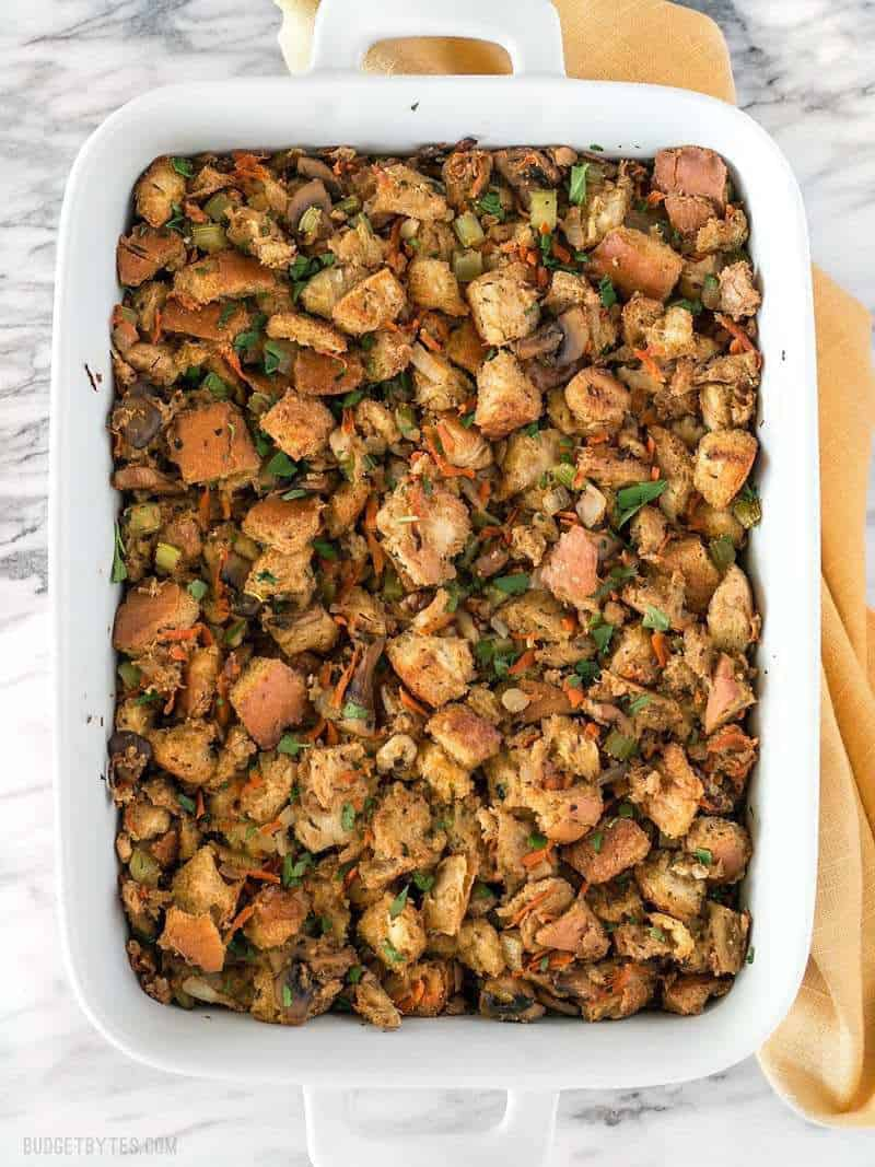 Savory Vegetable Stuffing   Budget Bytes This Savory Vegetable Stuffing is full of so much color  texture  and  flavor that