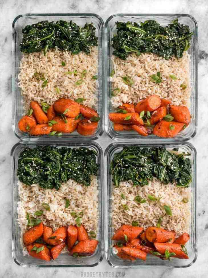 Four glass Maple Miso Roasted Carrot Meal prep containers