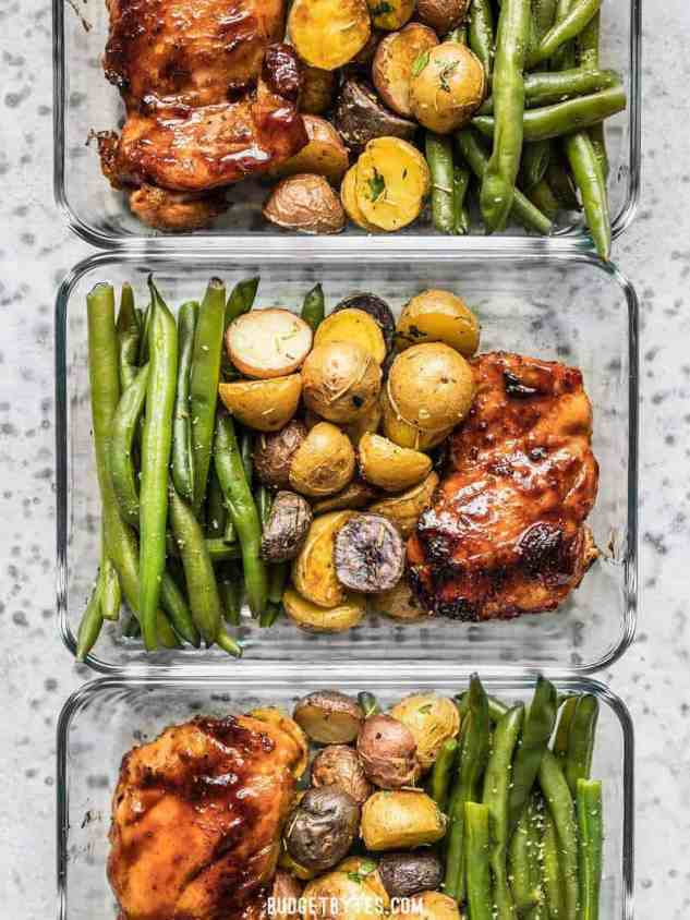 Glazed Chicken Meal Prep containers lined up in a row