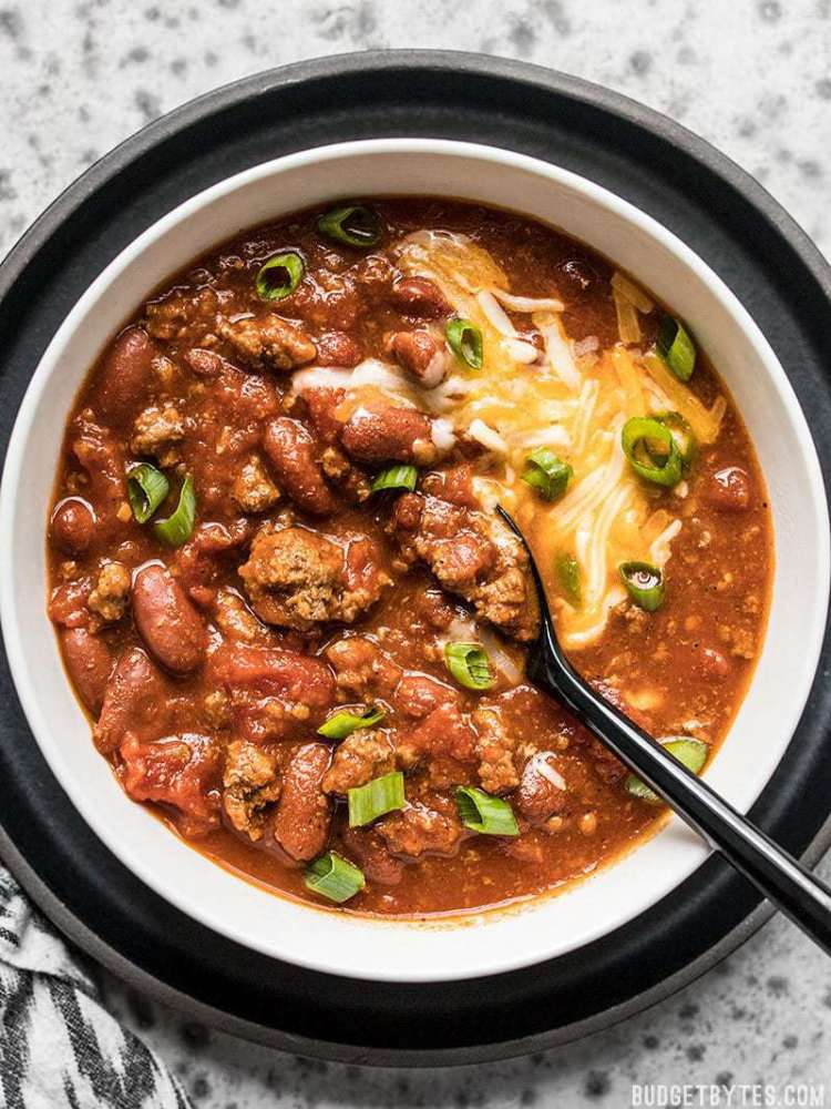 A big bowl of super flavorful small-batch Rice Cooker Chili.