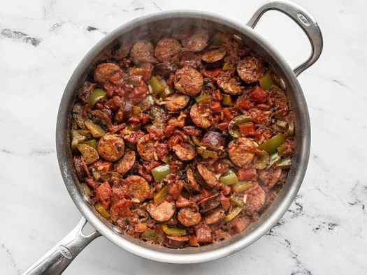 Simmered sausage and rice skillet