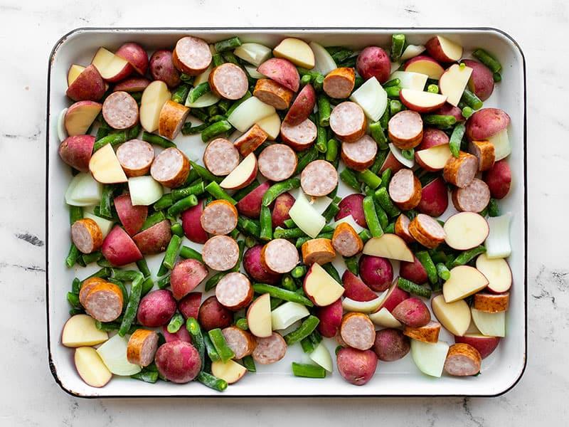 Chopped ingredients on the sheet pan
