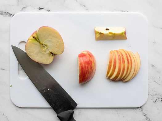 Cored and sliced apple