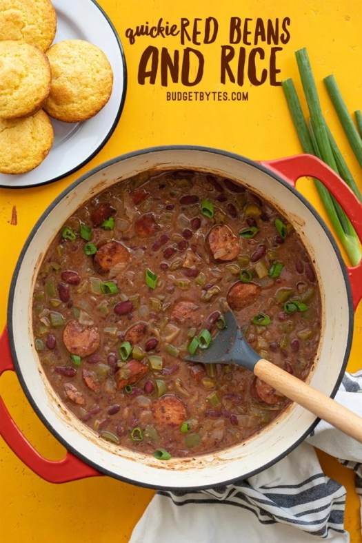 A pot full of Quickie Red Beans and Rice, title text at the top