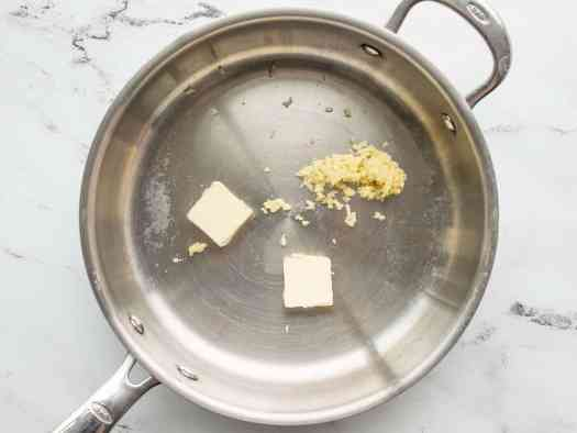 minced garlic and butter in a deep skillet