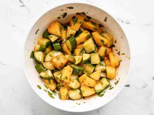 Finished spicy pineapple cucumber salad in a bowl