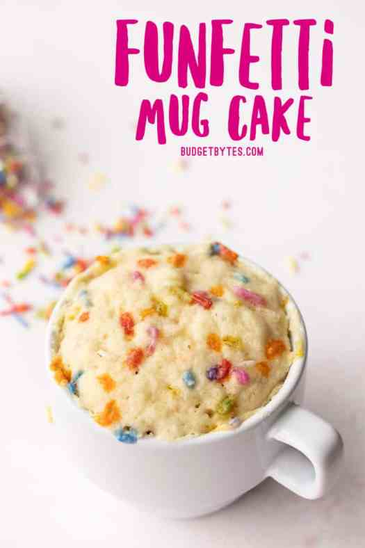 funfetti mug cake with no frosting, title text at the top