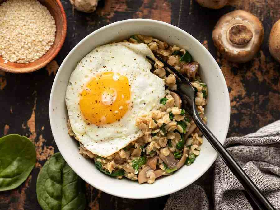 A bowl of Savory Oatmeal with an egg on top