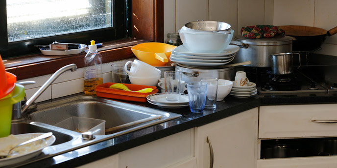 cluttered counters